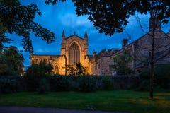 Lado oeste de la abadía de Hexham en la noche Imagen de archivo