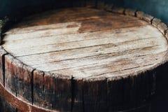 Lado superior de um tambor de madeira fotografia de stock royalty free