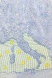 Lado trasero de un billete de banco del euro 20 dng Foto de archivo