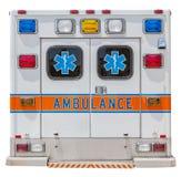 Lado trasero de un coche de la ambulancia para el rescate de la emergencia Foto de archivo