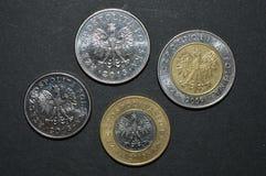 Lado trasero del pln del dinero del pulimento de la moneda del Zloty Fotos de archivo