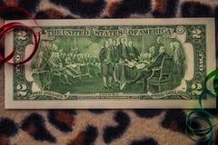 Lado trasero histórico de un billete de dólar dos foto de archivo libre de regalías
