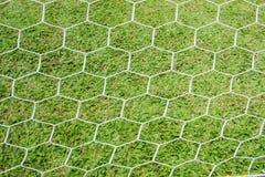 Lado trasero la meta en el campo de fútbol Fotografía de archivo