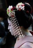 Lado-vista Maiko del retrato Imagenes de archivo