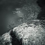 Ladoga jezioro, monochromatyczny nabrzeżny krajobraz Zdjęcie Royalty Free