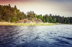 Ladoga lake, colorful coastal landscape stock photography