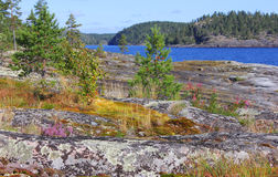 Ladoga lake, Karelia, Ryssland Arkivfoton