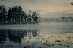 Ladoga lake. Mist on island on Ladoga lake Stock Images