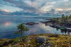 Ladoga lake. Rocks on island on Ladoga lake Stock Image