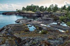 Ladoga lake. Rocks on island on Ladoga lake Royalty Free Stock Photography