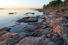 Ladoga shore at sunrise Royalty Free Stock Photo