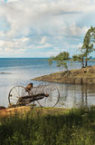 On Ladoga shores. On the shores of lake Ladoga is a place where time seems to stand still and we can see how our ancestors lived Stock Image