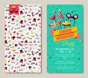 Lados cartaz, inseto ou convite do carnaval dois ilustração royalty free