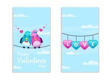 Lados felices del día de tarjetas del día de San Valentín dos Fotografía de archivo libre de regalías