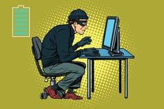Ladrão caucasiano do hacker que corta em um computador ilustração royalty free