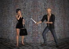Ladrão da extorsão que rouba na ilustração escura da aleia Fotografia de Stock