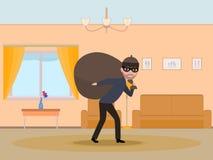 Ladrão do homem dos desenhos animados do vetor que rouba um apartamento Imagens de Stock Royalty Free