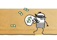 Ladrão dos desenhos animados que corre afastado com bloco do dólar ilustração stock