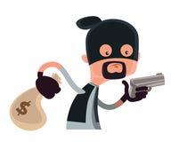 Ladrão no preto que guarda um personagem de banda desenhada da ilustração da arma ilustração do vetor