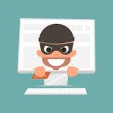 Ladrão que guarda um cartão de crédito Conceito da compra em linha segura Ilustração do vetor ilustração do vetor