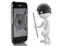 ladrón blanco de la gente 3d Smartphone con la puerta segura Foto de archivo