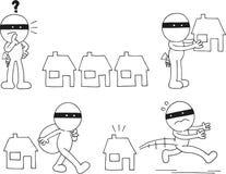 Ladrón Cartoon Set Imágenes de archivo libres de regalías