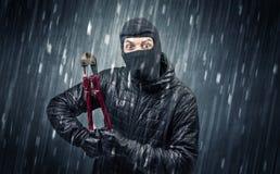 Ladrón cogido por la cámara de la casa en la acción Foto de archivo libre de regalías