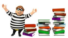Ladrón con la pila de libro Foto de archivo