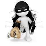 ladrón de la gente blanca 3d con el dinero Imagen de archivo
