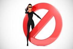 Ladrón de la mujer con la señal de la prohibición Imagen de archivo libre de regalías