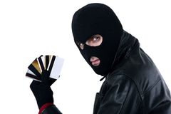 Ladrón de la tarjeta de crédito Imágenes de archivo libres de regalías