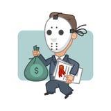 Ladrón del hombre de negocios que lleva a cabo el dinero y seguridades stock de ilustración