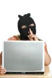 Ladrón del ordenador del niño Imagenes de archivo
