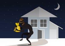Ladrón And Door Bandit con el bolso Fractura en casa a través de puerta Foto de archivo