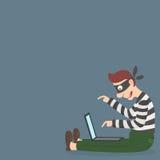 Ladrón en una máscara que roba la información personal vía Internet ilustración del vector