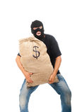 Ladrón feliz con el saco lleno de dólares fotos de archivo