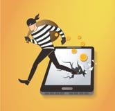 Ladrón Hacker Stealing Money en el teléfono elegante ilustración del vector