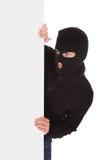 Ladrón Holding Blank Placard Fotografía de archivo libre de regalías