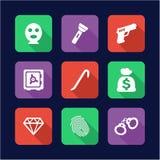 Ladrón Icons Flat Design Imagen de archivo libre de regalías