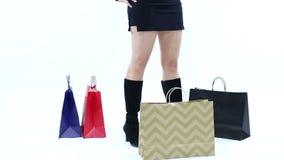 Ladrón Stealing Shopping Bags almacen de metraje de vídeo