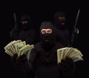 Ladrões nas máscaras imagens de stock royalty free