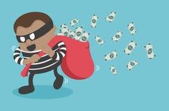 Ladrões que roubam o dinheiro ilustração royalty free