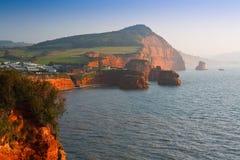 Ladram海湾在德文郡,英国 免版税库存图片