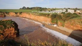 Ladram Bay beach Devon England UK stock footage