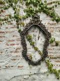 Ladrillo de Bronken y marco de la foto del acero Fotografía de archivo