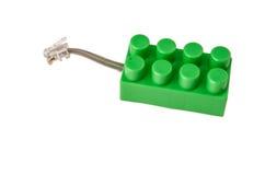 Ladrillo del lego del cable de teléfono Fotografía de archivo