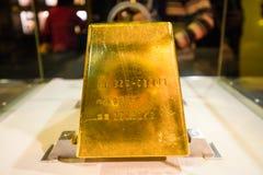 Ladrillo del oro en museo de la mina de oro de Jioufen Fotos de archivo libres de regalías