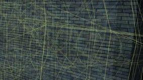 Ladrillo móvil oscuro en el fondo Líneas del oro del vuelo stock de ilustración