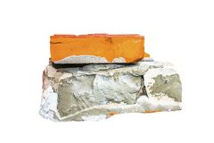 Ladrillo y piedra crudos a creativo para el diseño y el aislamiento de la decoración imágenes de archivo libres de regalías
