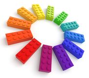 Ladrillos coloreados del juguete Fotos de archivo